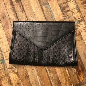 Black sequin & snakeskin clutch